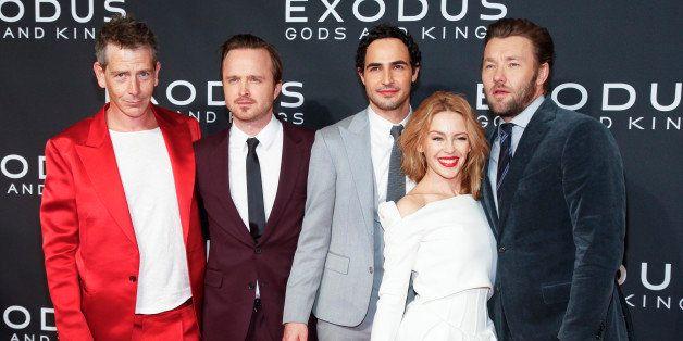 "Ben Mendelsohn, from left, Aaron Paul, Zac Posen, Kylie Minogue and Joel Edgerton attend the premiere of ""Exodus: Gods and Ki"