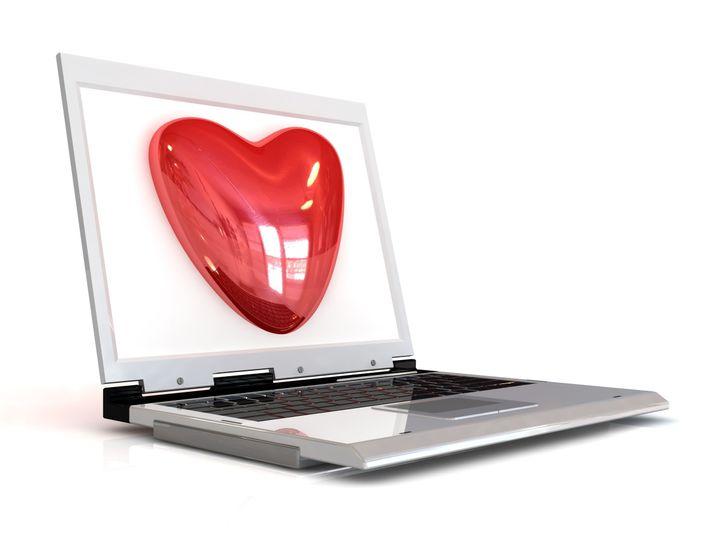 laptop   red heart 3d internet...