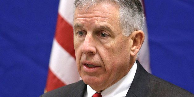 FILE - In this Feb. 5, 2013 file photo, Cuyahoga County prosecutor Tim McGinty answers questions during a news conference in