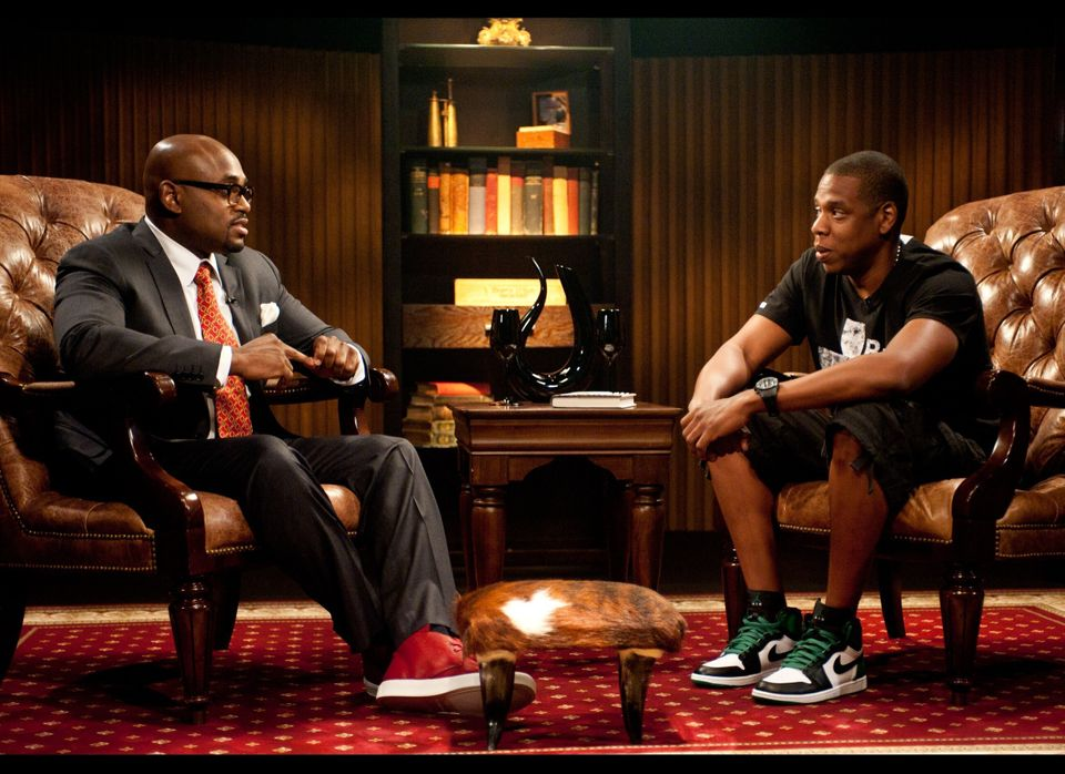 Steve Stoute and Jay-Z during the taping of AOL HuffPost Media Group's, 'Tanning Effect With Steve Stoute.'