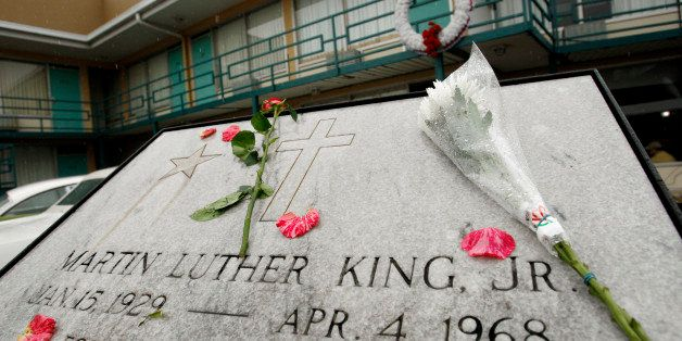 Flowers lie on the plaque that lays at Lorraine Motel, now part of the National Civil Rights Museum, where Rev. Dr. Martin Lu