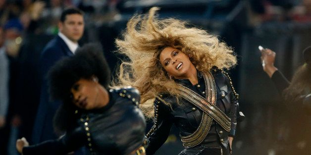 FILE - In this Sunday, Feb. 7, 2016, file photo, Beyonce performs during halftime of the NFL Super Bowl 50 football game in S