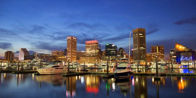 Baltimore's Inner Harbor during the twilight hours.