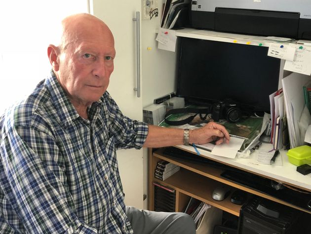 Peter Smith at his home computer which the fraudster carried out the scam