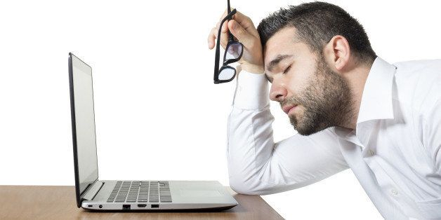 Tired, overworked employee stressed and frustrated enough and can't find a way, just sleeping.