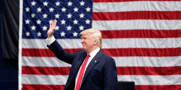 Republican presidential candidate Donald Trump arrives to speak at a campaign rally in Akron, Ohio, Monday, Aug. 22, 2016. (A