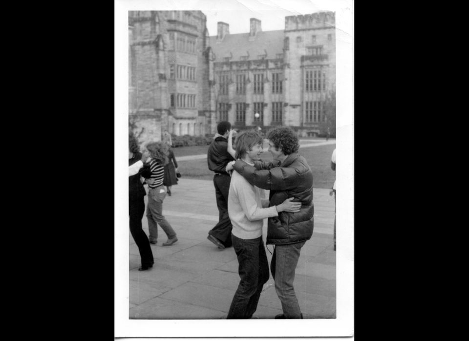 Winkler and Mark Singer dancing at the first Gay Rights Week at Yale, 1977.
