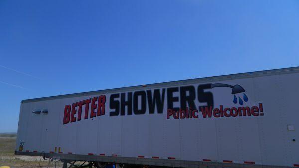 The trailer is set up near Williston, N.D., on Highway 85.