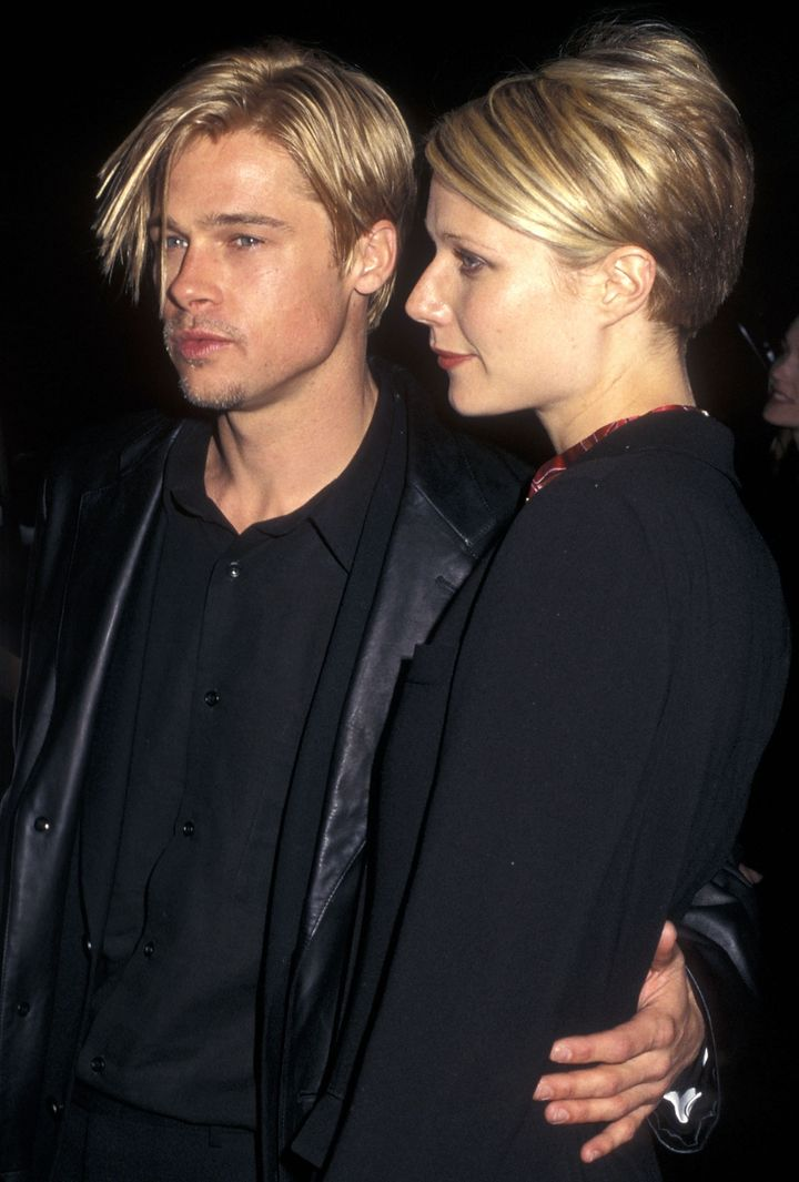 Brad Pitt and actress Gwyneth Paltrow attend a move premiere in 1997.