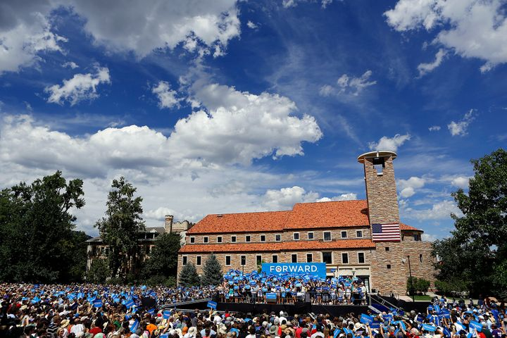 BOULDER, CO - SEPTEMBER 2: The crowd at the University of Colorado campus waits for President Barack Obama to speak at a Gras
