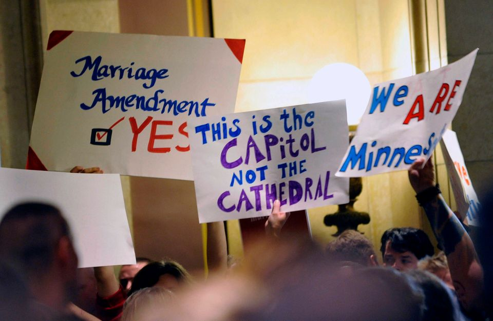 Voters in Minnesota will vote on whether or not to amend their constitution to ban same-sex marriage, but would potentially<a