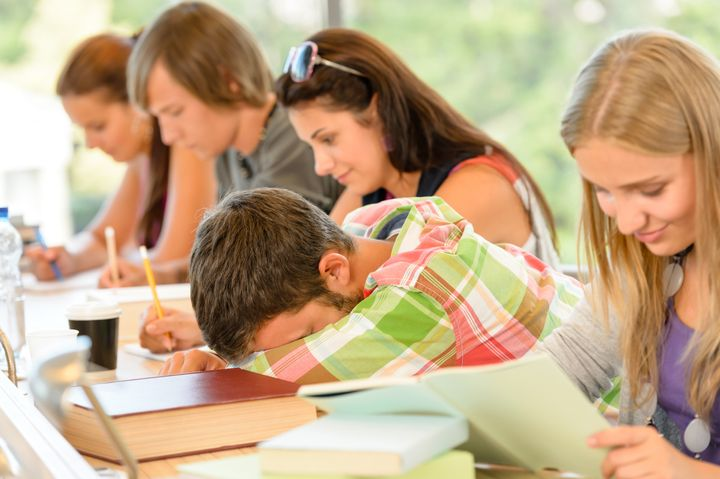 High-school student falling asleep in class teens lesson college bored