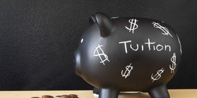 black piggy bank with dollar...