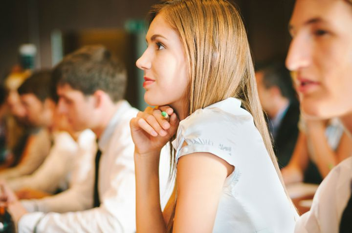 Young woman at a Business seminar.