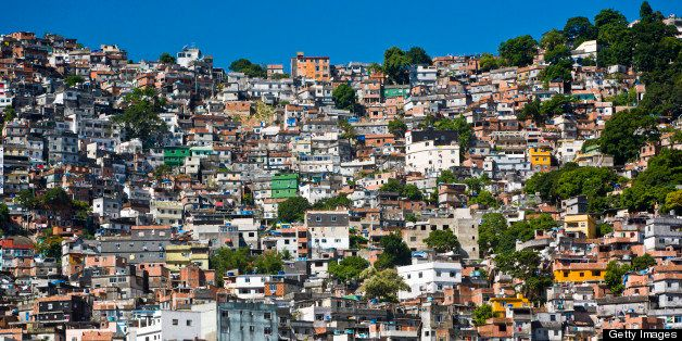 Favela Rocinha, Rio de Janeiro, Brazil. Rocinha is the largest and most well-known favela in Brazil.  Built on a steep hillsi