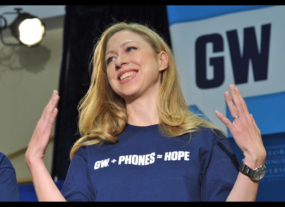 Chelsea Clinton attends the George Washington University (GW) kickoff rally to launch the 'GW Phones for Hope,' as part of a
