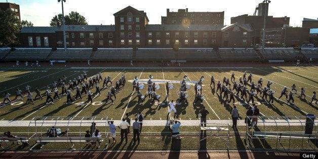 WASHINGTON, DC - AUGUST 29:The Howard University Showtime Marching band spends hours practicing Wednesday August 29,  2012 in