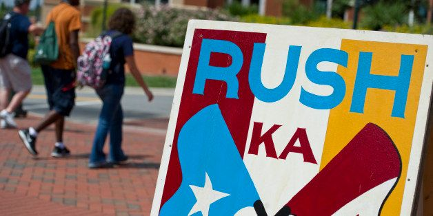 CHARLOTTE, NC - SEPTEMBER 05: Fraternity and sorority rush and recruitment signs are posted across campus at the beginning of