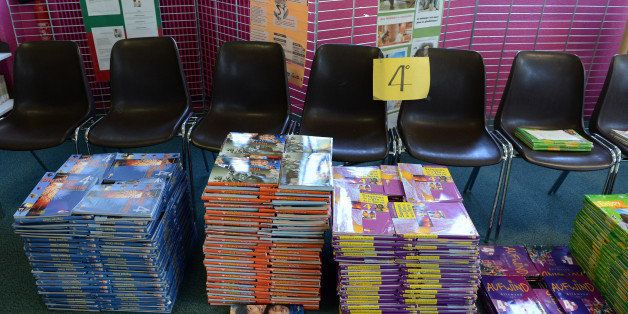 Textbooks are ready to be distributed to pupils at the Chateau Forbin College on September 4, 2012, at the start of the new s