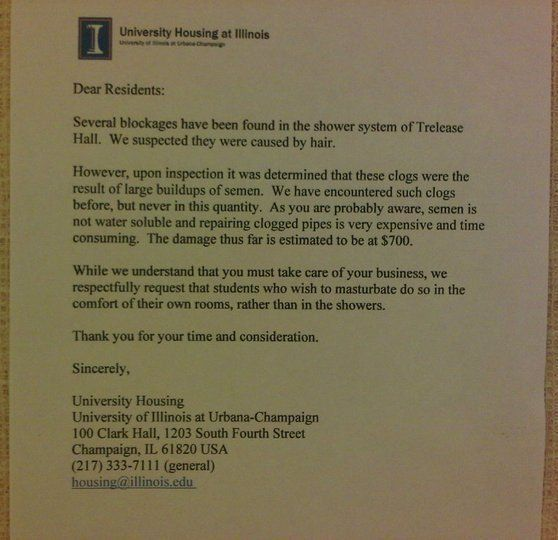 25 Fake Letters Warning Students Not To Masturbate In Dorm