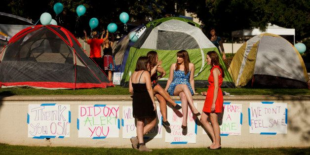 Carly Mee, a student at Occidental College, center, talks with other students during the Oxy Sexual Assault Coalition (OSAC)