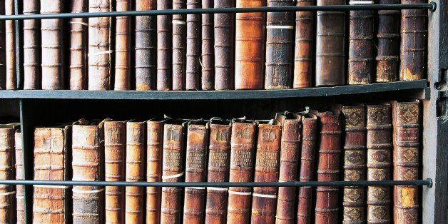 IRELAND - APRIL 08: Books in Marsh's Library, oldest public library in Ireland, founded in 1701, Dublin, Ireland. (Photo by D