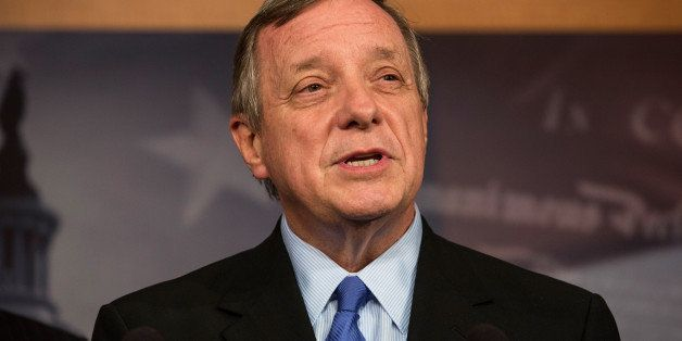WASHINGTON, DC - OCTOBER 16:  Sen. Dick Durbin (D-IL) speaks at a press conference after successfully pushing a bipartisan bi