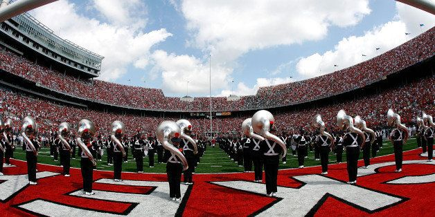 COLUMBUS, OH - SEPTEMBER 06:  The Ohio State Buckeyes marching band perform before the game against the Ohio Bobcats at Ohio