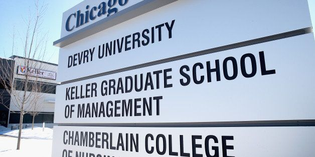 CHICAGO, IL - FEBRUARY 10:  A sign indentifies DeVry's Chicago campus on February 10, 2014 in Chicago, Illinois. All of the C