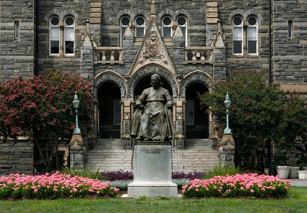 "A statue of the founder of Georgetown was actually <a href=""http://www.library.georgetown.edu/infrequently-asked-questions/it"