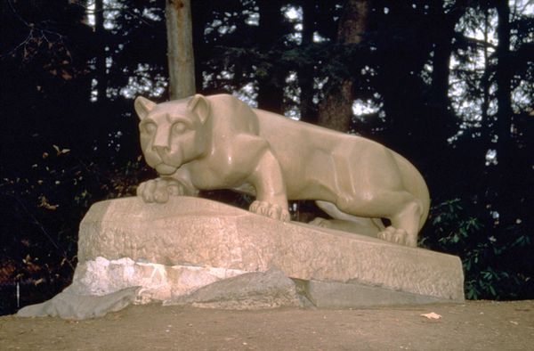 In 1966, the year Joe Paterno became head coach of the Penn State football team, his wife Sue painted the lion orange <a href