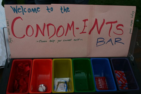 "The ""condom-ents bar"" from the school's Sexual Health Fest."