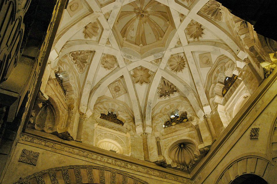 Rib vaulting in the maqsura dome of the Great Mosque of Córdoba was added in the tenth century. (Jos. A. Entrenas, Infocordob