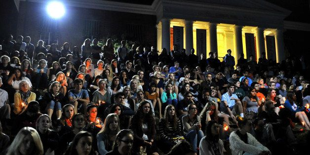 CHARLOTTESVILLE, VA- SEPTEMBER 18: A candlelight vigil attended by hundreds was held tonight at McIntyre Amphitheater (on the