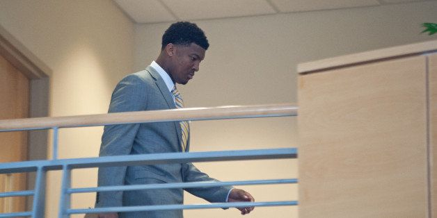 TALLAHASSEE, FL - DECEMBER 2: Florida State Seminoles quaterback Jameis Winston comes returns from a break during his student
