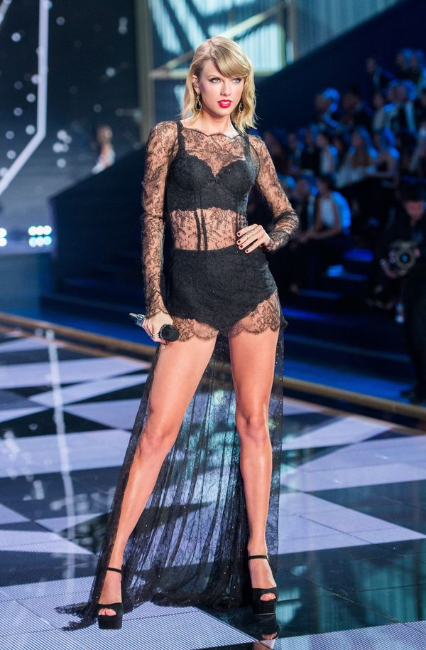 Angels? What angels? Tay stole the show in this lace number.