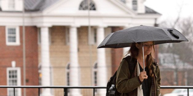 CHARLOTTESVILLE, VA - DECEMBER 6:  Kathryn Dockter, at third year student at the University of Virginia, walks past the Phi K