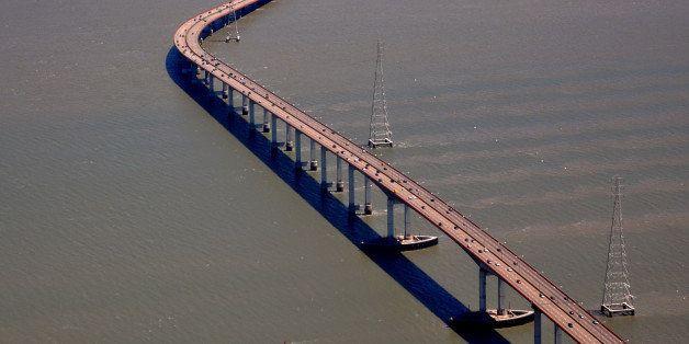 SAN FRANCISCO, CA - MAY 12, 2013: The San Mateo-Hayward Bridge crosses California's San Francisco Bay, linking the San Franci