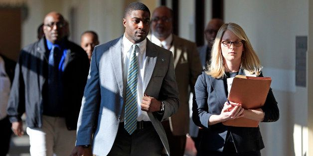 Former Vanderbilt football player Cory Batey, front left, arrives for jury selection in his rape trial Monday, Nov. 3, 2014,