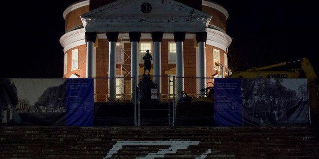 The Rotunda stands under renovation on the University of Virginia (UVA) campus in Charlottesville, Virginia, U.S., on Friday,