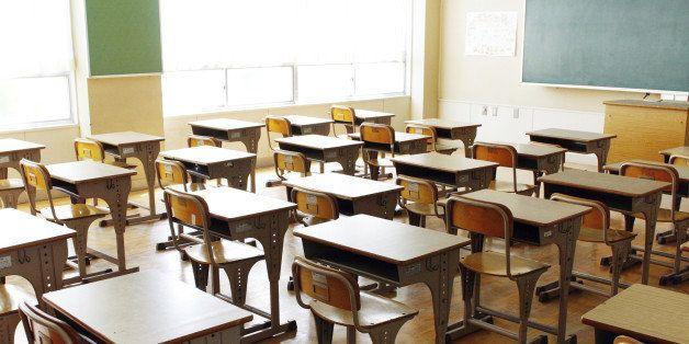 inside a class room with desks