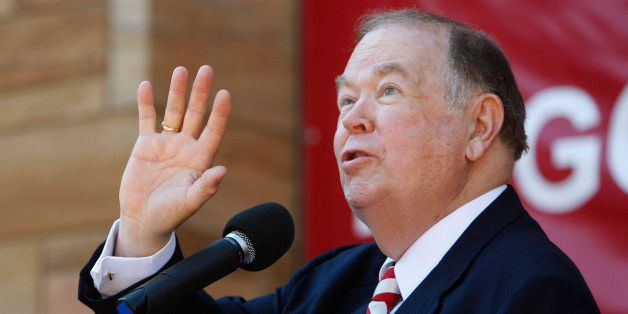 University of Oklahoma President David Boren gestures as he speaks during a dedication ceremony for the $165 million Peggy an