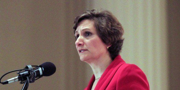 FILE - In this Jan. 6, 2012, file photo, Oregon 1st Congressional District Democratic candidate Suzanne Bonamici speaks durin