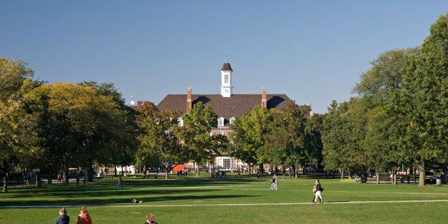 A beautiful fall day on the quad of the Univsersity of Illinois in Champaign. The Student Union is in the background.