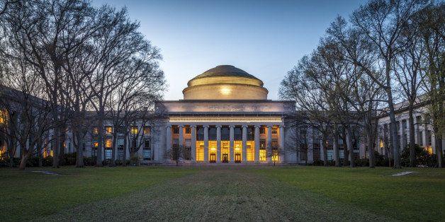 The Massachusetts Institute of Technology main building at sunset in Cambridge, Massachusetts, USA.