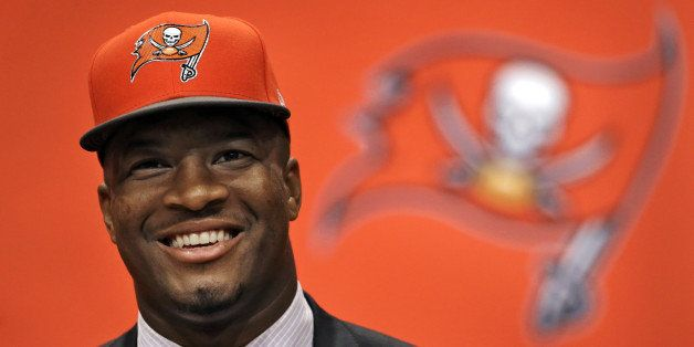 Former Florida State quarterback Jameis Winston, selected as the No.1 overall pick in the NFL draft by the Tampa Bay Buccanee