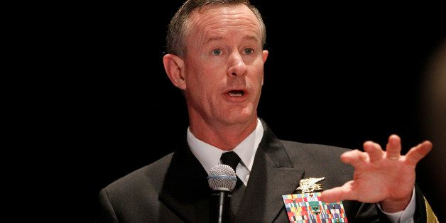 FILE - This Feb. 7, 2012 file photo shows Navy Adm. Bill McRaven, commander of the U.S. Special Operations Command speaking i