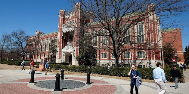 NORMAN, OK-  MARCH 11: Students walk between classes in front of the Bizzell Memorial Library at the University of Oklahoma o