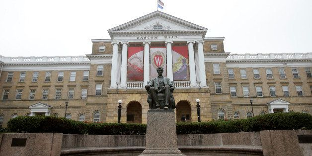 MADISON, WI - OCTOBER 12: An outside view of Bascom Hall on the campus of the University of Wisconsin on October 12, 2013 in