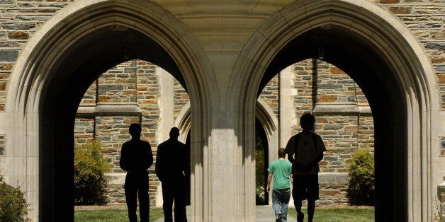 DURHAM, NC - APRIL 11:   Students pass under the arches at Duke University  Tuesday, April 11, 2006 in Durham, North Carolina